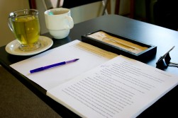Editing my manuscript at the Japanese Gardens Coffeehouse