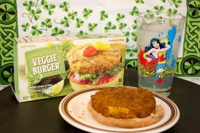 Lunch: Trader Joe's veggie burger on half a wheat bun with BBQ sauce