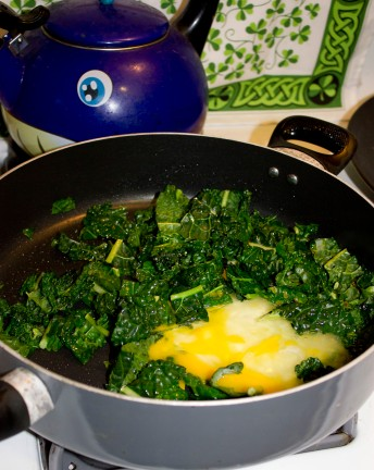 Dinner: Kale and eggs