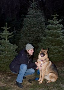 Me and Isis in front of our chosen tree in Dec. 2010.